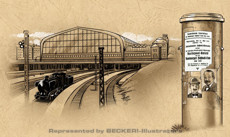 Illustrationen zur Vereinsgeschichte des HSV von Christian Scharfenberg