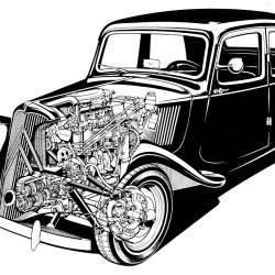 Citroen Line drawing von Arthur Phillips